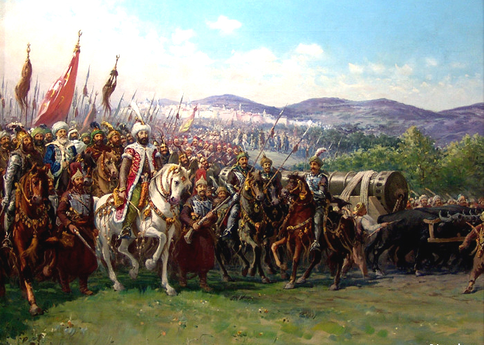 Sultan Mehmed II approaches Constantinople with his army (Note the ...