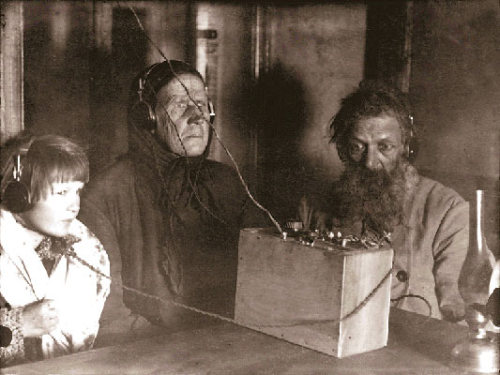 Russian family listens to radio