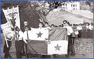 Panamanian students with flag 1964