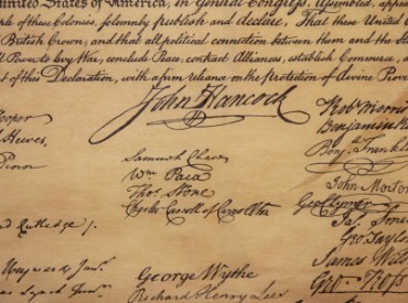 Hancock's famous signature on the Declaration of Independence