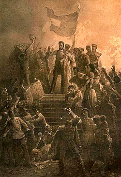 Petofi recites National Song, March 15, 1848; by Mihaly Zicky
