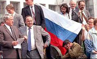 Boris Yeltsin (left) during the 1991 coup