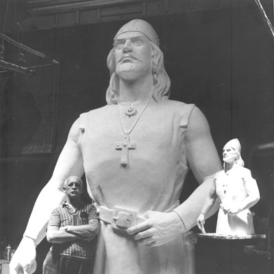 August Werner with Leif Erikson statue